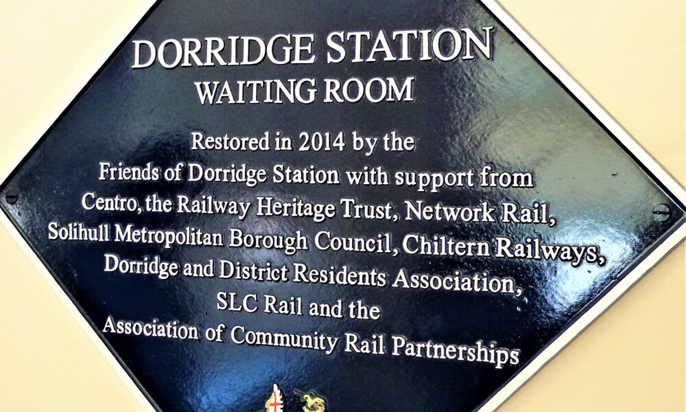 Dorridge station waiting room sign